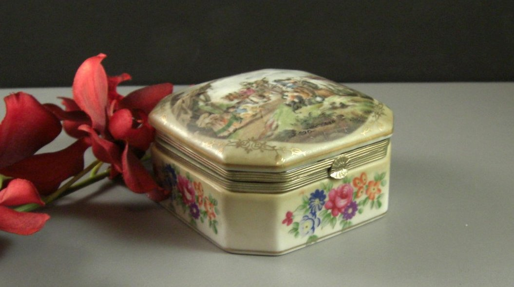Porcelain Jewelry Trinket Wedding Ring Box Semi Handpainted