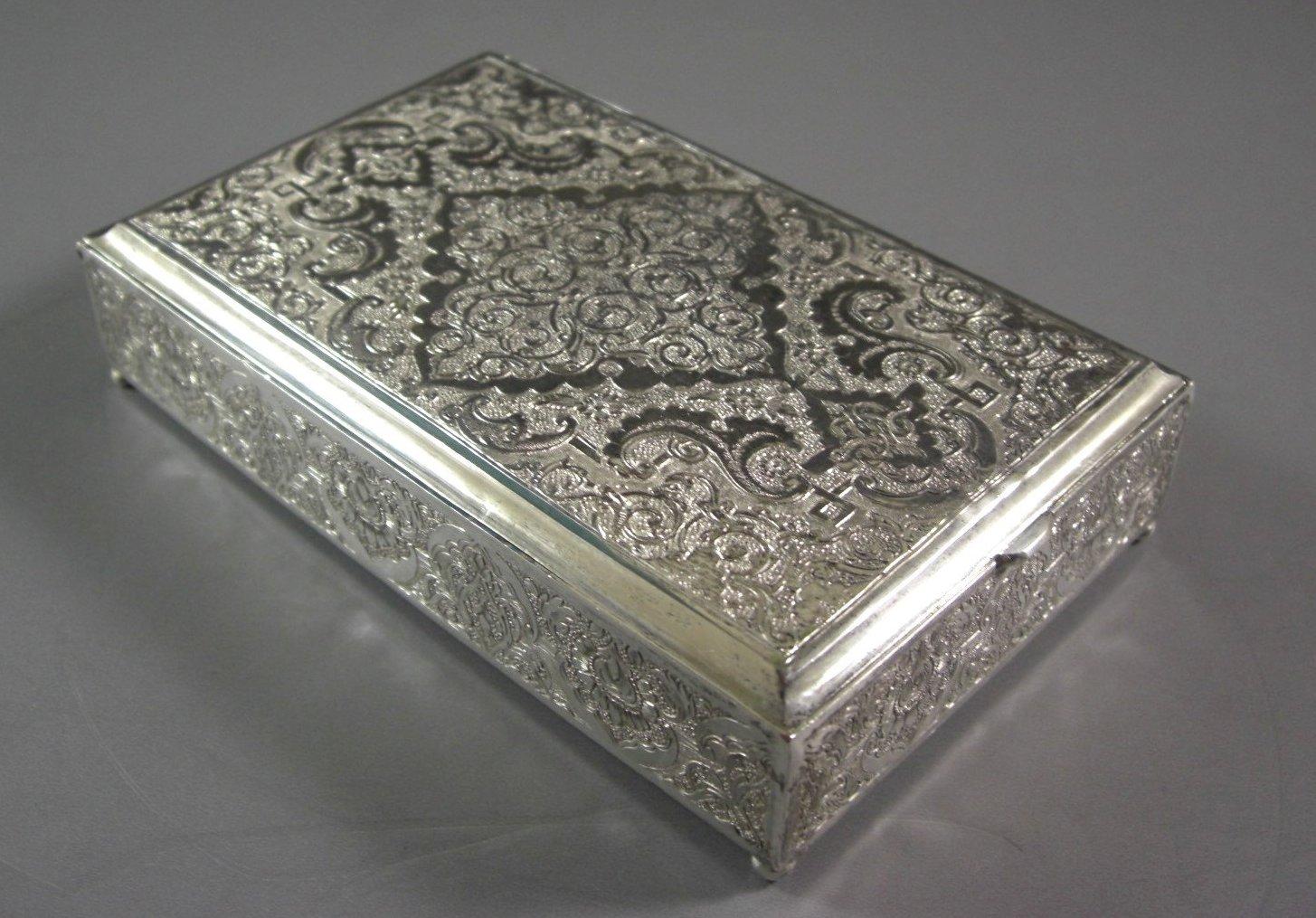 Persian Qajar Sterling Silver Cigarette Tobacco Box Desk Trinket Valet Stash