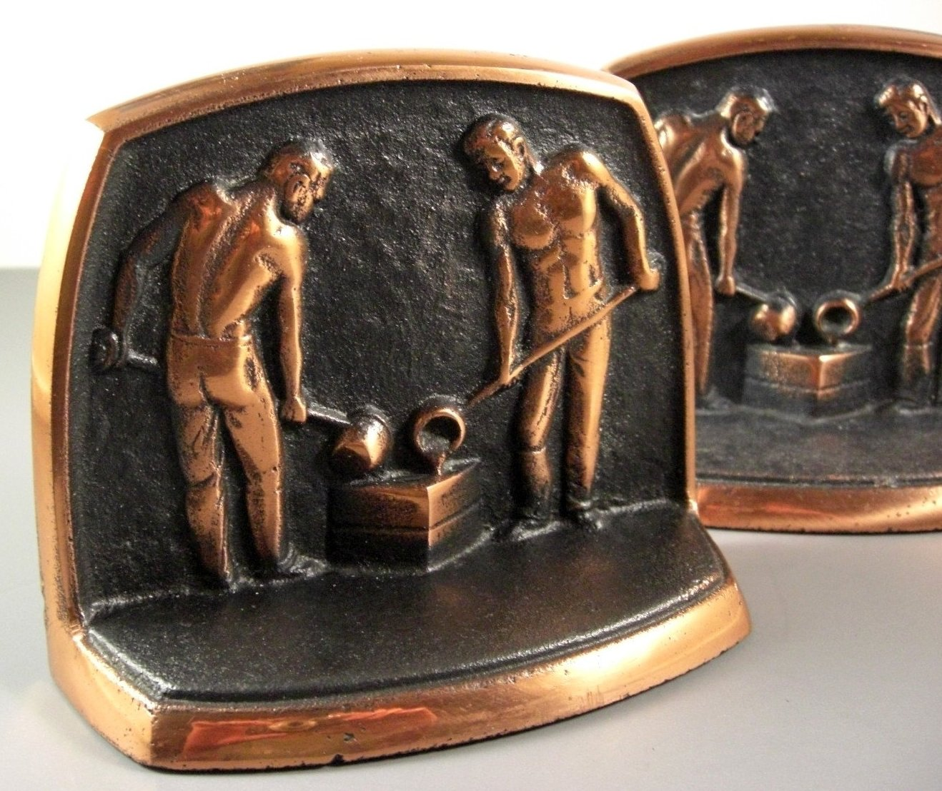 Cast Iron Copper Trim Bookends Foundry Workers Dated 1959