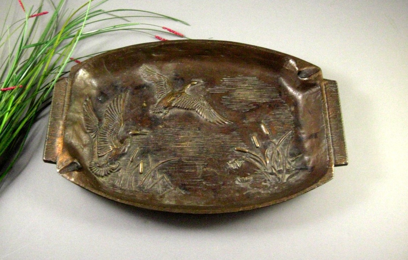 LARGE Solid Bronze Tray Ashtray Organic Prairie Style dated 1959