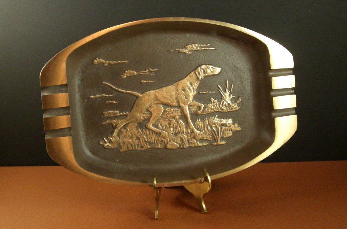 OOAK Solid Bronze Tray Ashtray Sporting Pointer Dog