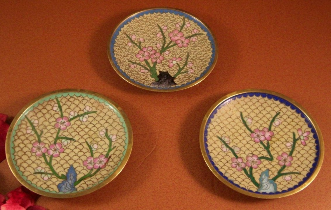 Chinese Cloisonne Dish Tray Set of 3 Chinoiserie