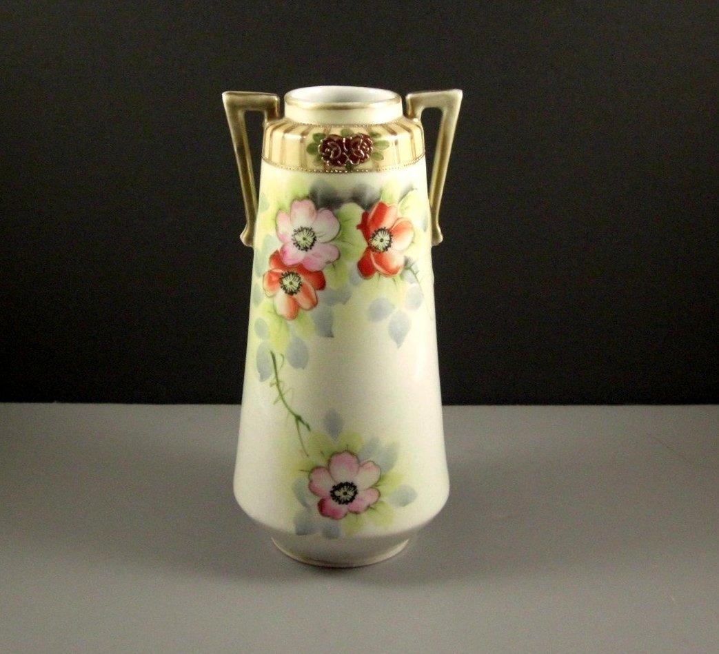 Art Deco Porcelain POPPIES Vase // Green Stamp Japan