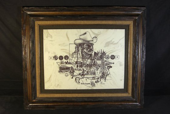 Marble Art Etching Montage - Texas Legend - by David Frederick Gray