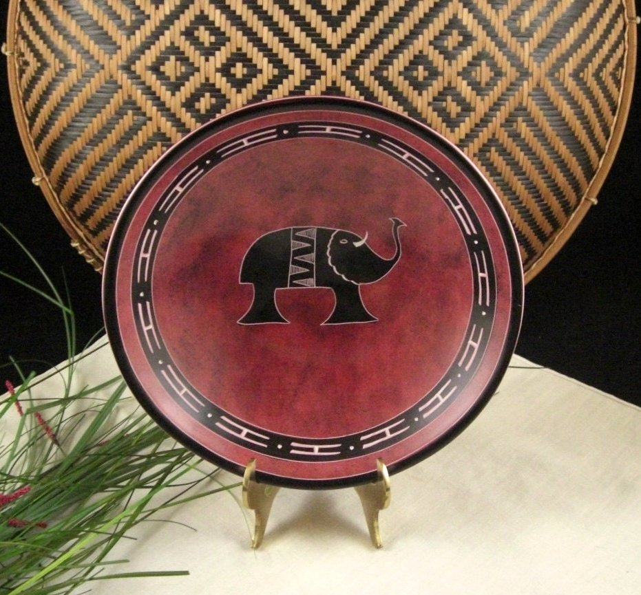 Hand Carved Soapstone Bowl Red Spongeware Finish African Kisii