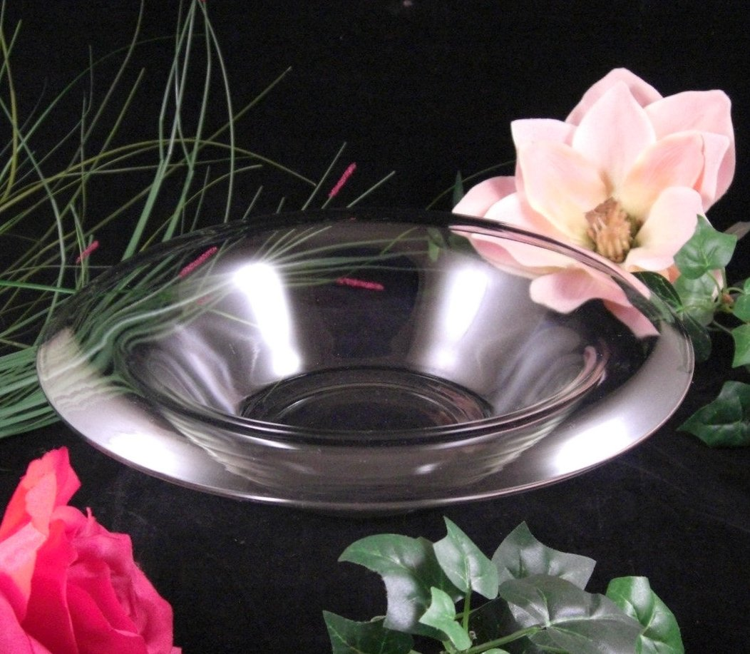 Art Deco Rolled Glass Console Bowl / Depression Glass / Elegant Glass