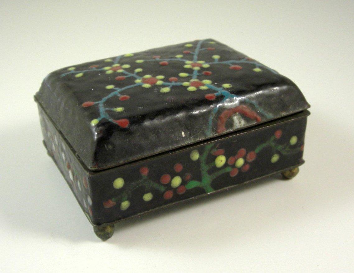 Antique Chinese Enameled Lozenge Cigarette Desk Box