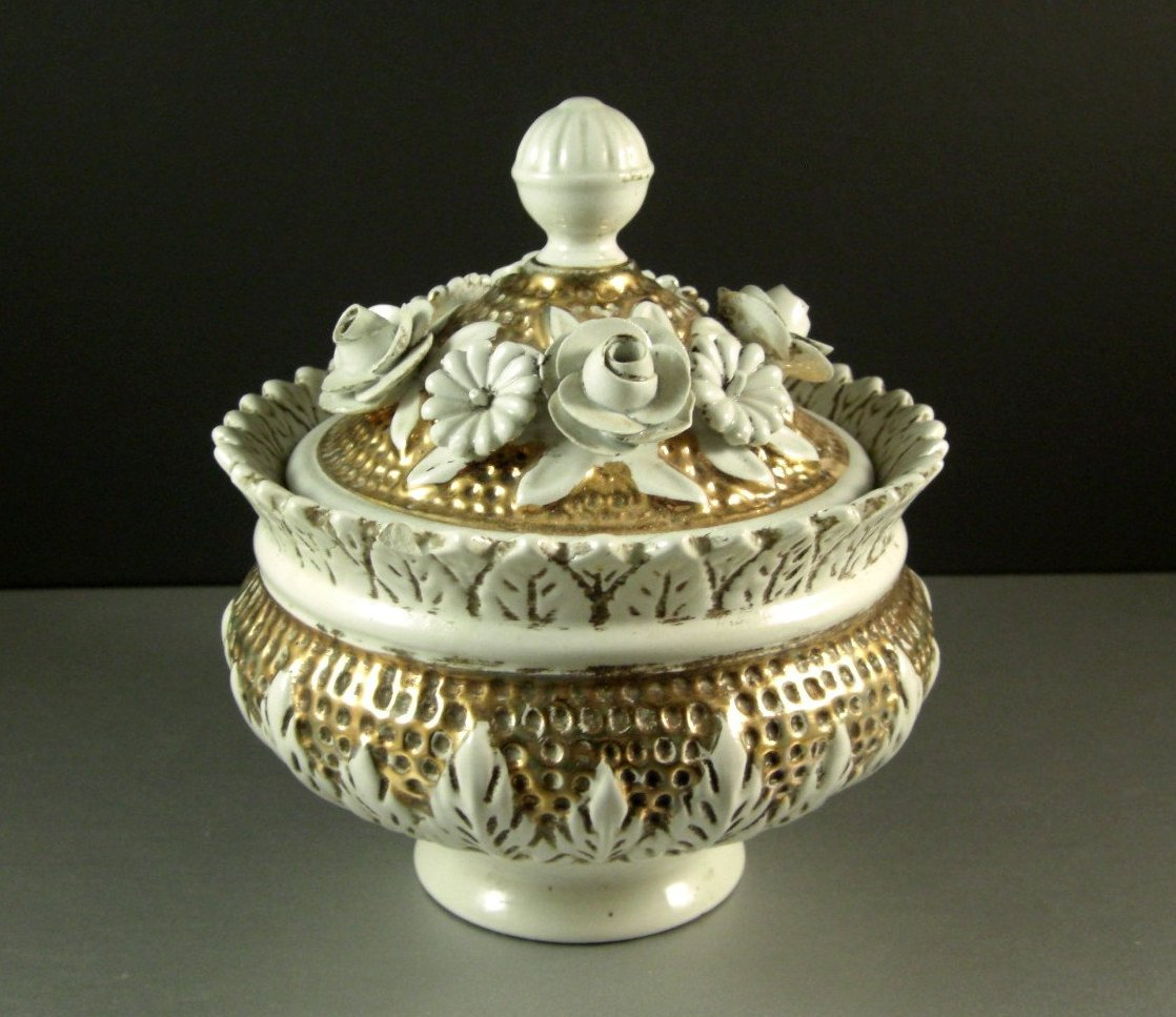 Italian Porcelain Ceramic Lidded Decor Bowl Applied Porcelain Flowers