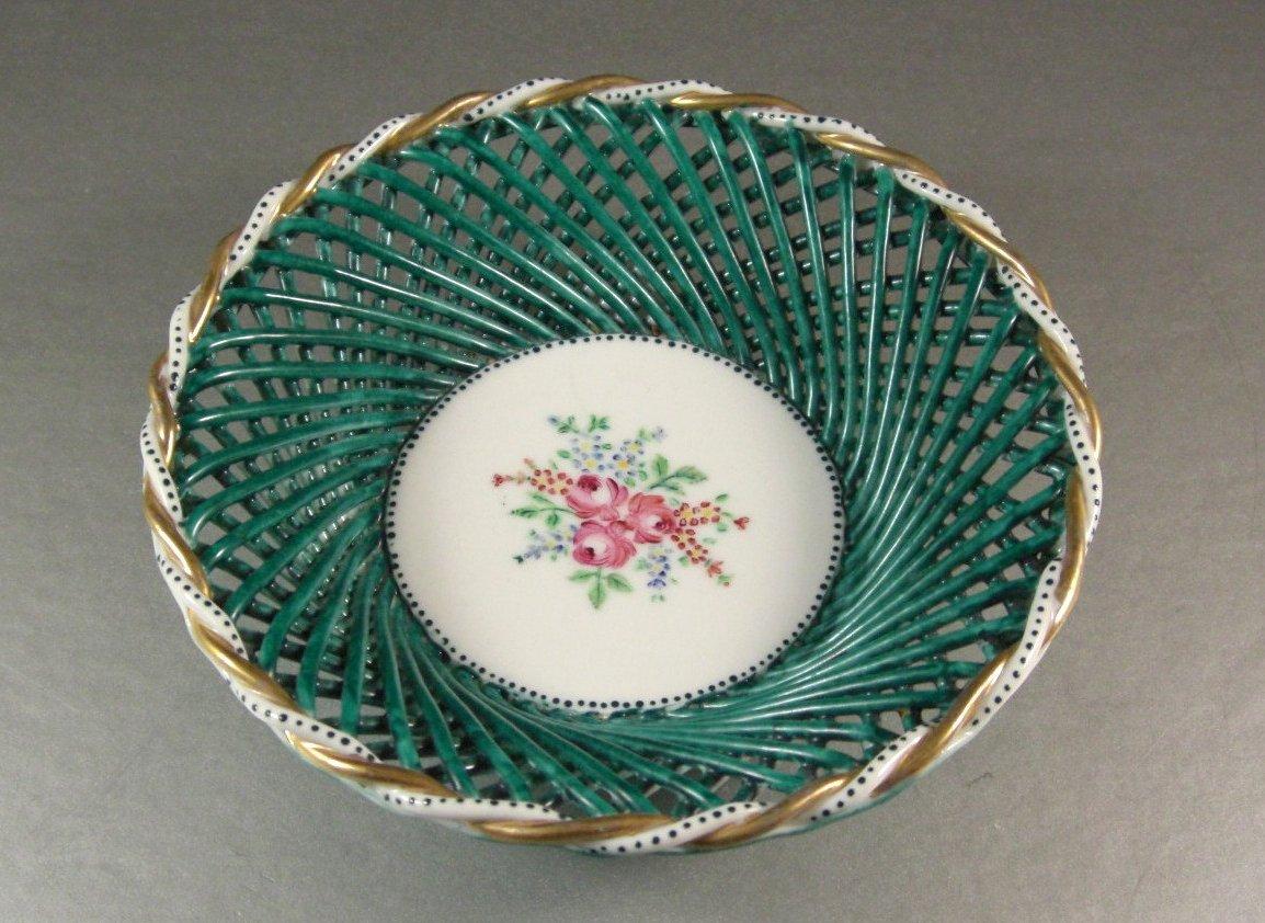 Hand Woven Handpainted Porcelain Basket Signed Wedding Art Gift Basket
