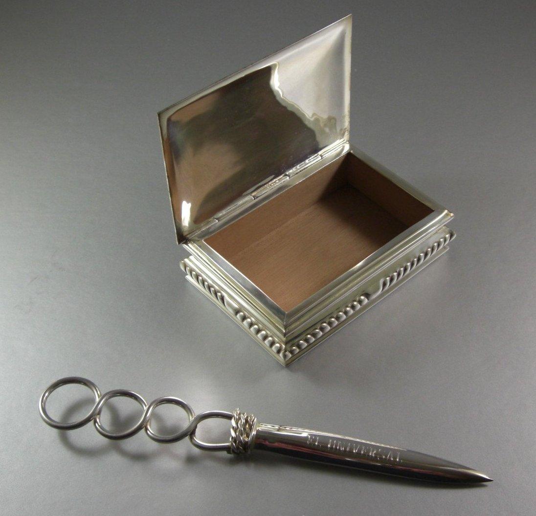 Silverplated Cedar Lined Desk Box and Letter Opener / 2 Piece Desk Set