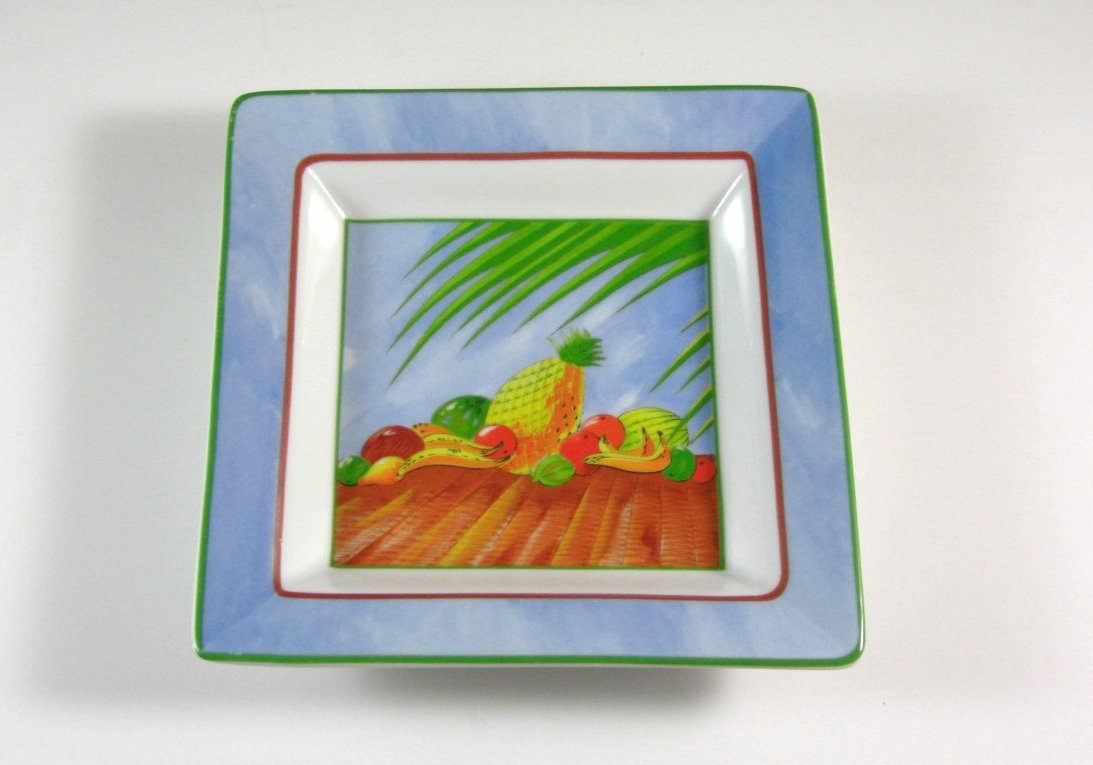 Christofle French Porcelain Decor Dish Square with Tropical Fruit Still Life