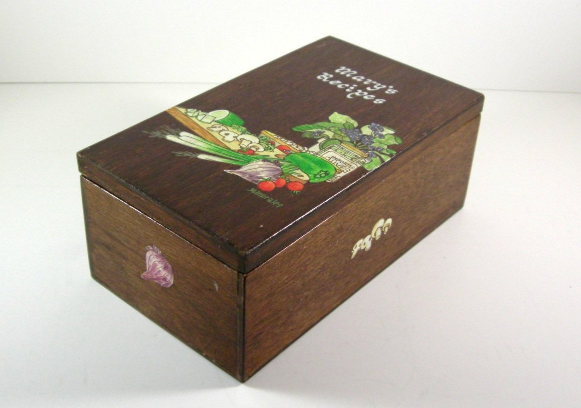 Hand Painted Wooden Hinged Recipe Box // Card File Holder