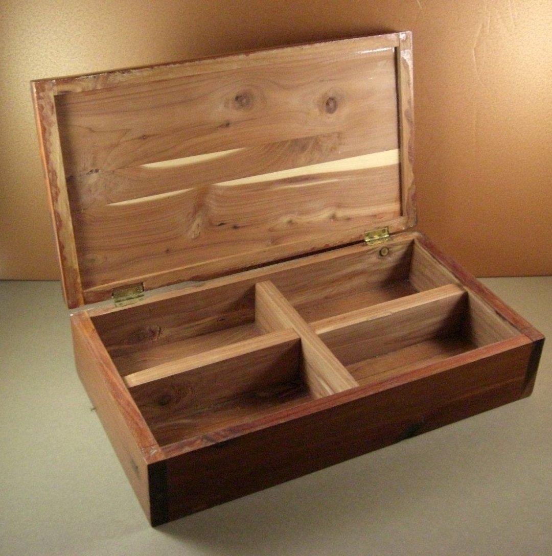 Grand Size Table Top Cedar Chest Storage Box Sarcophagus Handmade Folk Art