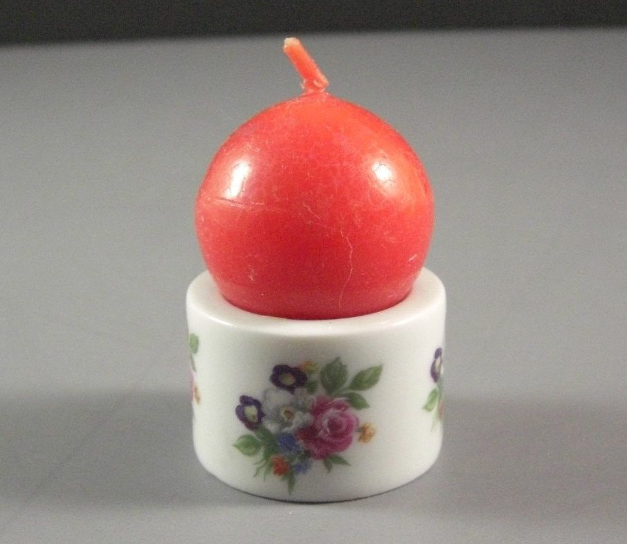Hand Painted Porcelain Candle Holder with Candle West Germany