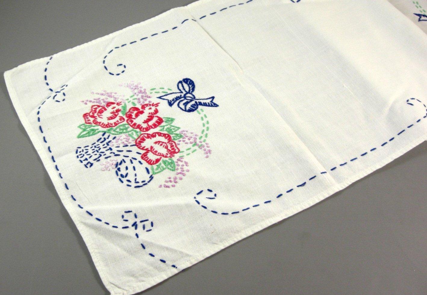 Long Rectangle Linen Table Runner Topper Hand Embroidered Doily