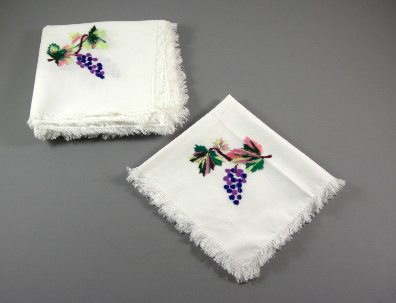 6 Estate White Linen Hand Embroidered Napkins from the Ukraine