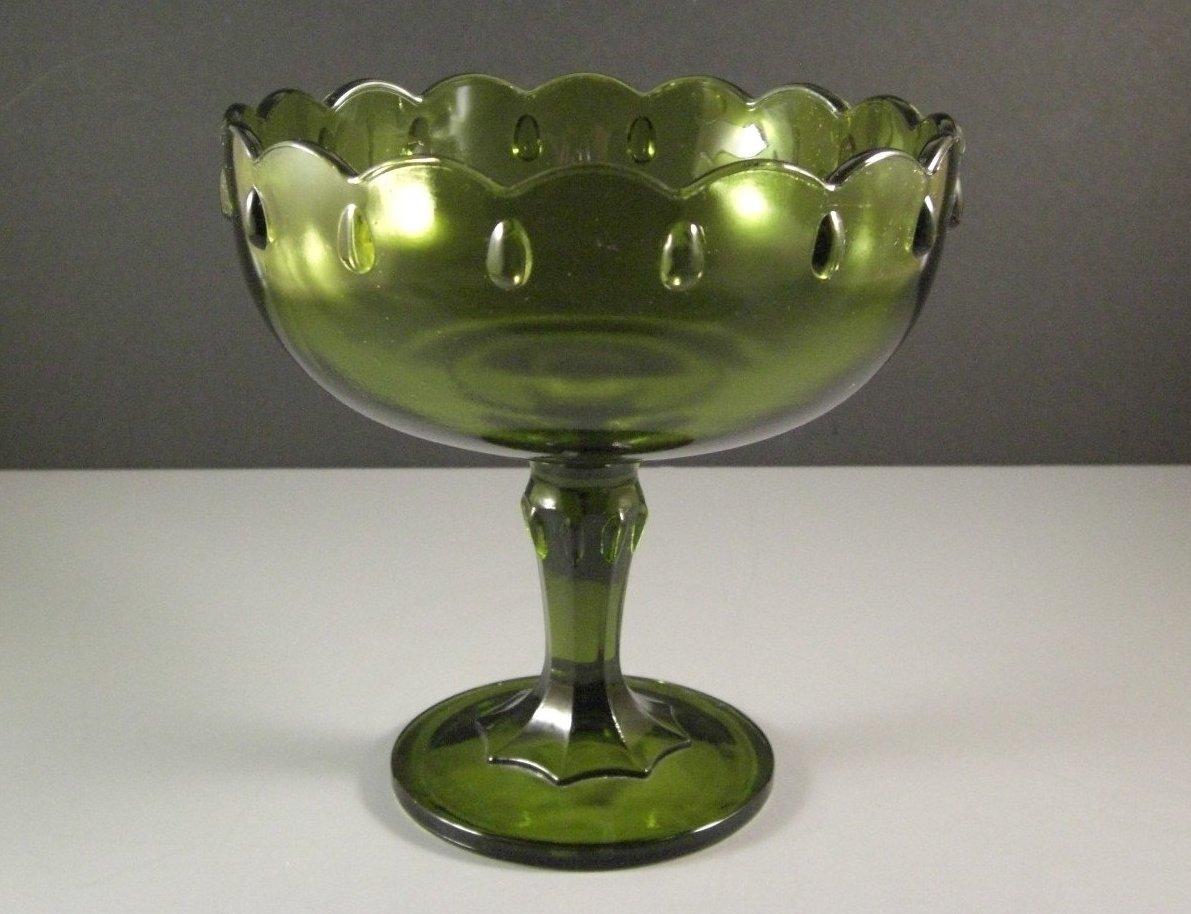 Indiana Glass Teardrop Compote Avacado Green Wedding Bowl Centerpiece