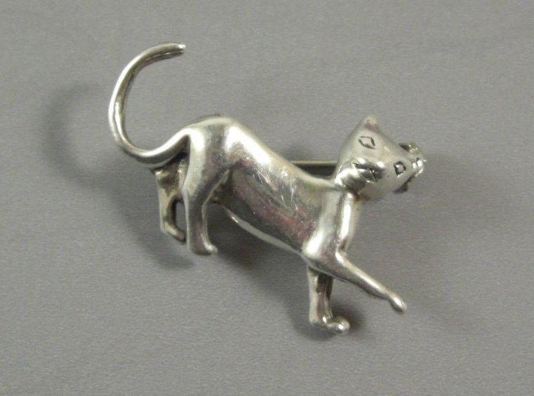 Vintage Silver Kitty Cat Pin Brooch