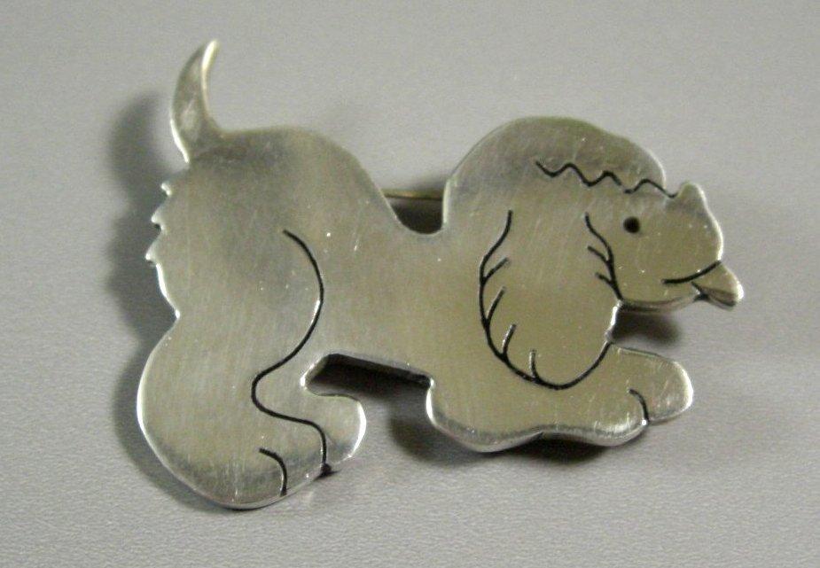 Sterling Silver Puppy Dog Pin Brooch