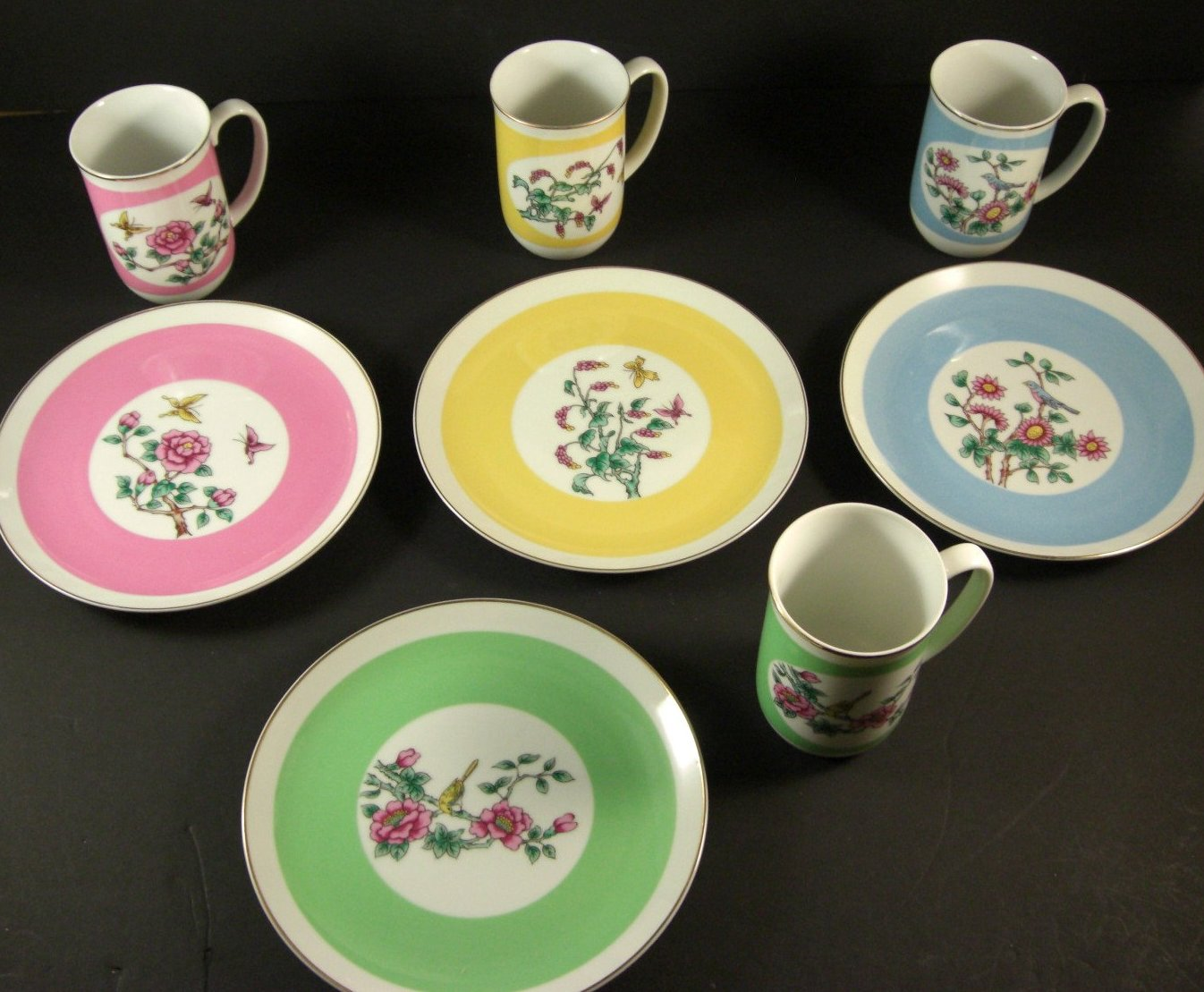 Shafford Porcelain Dessert Service for 4 Coffee Tea Mugs Dessert Plates