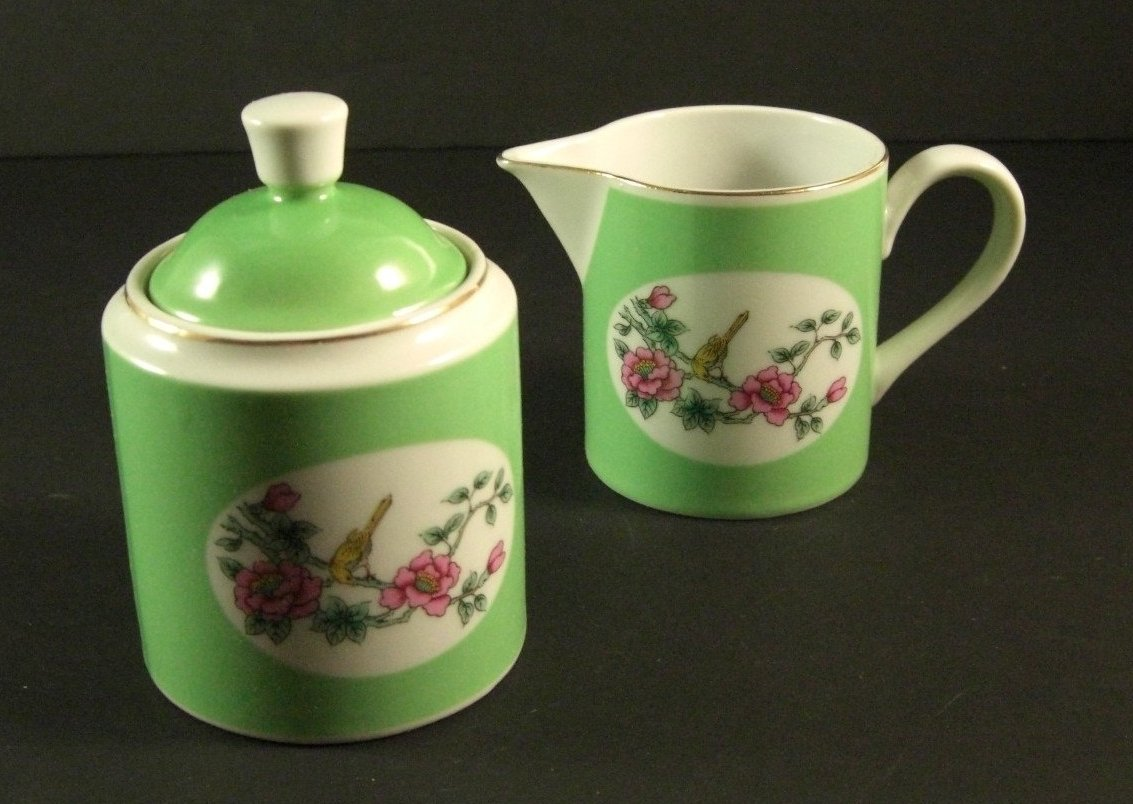 Shafford Porcelain Covered Sugar and Creamer Butterflies Birds Botanicals