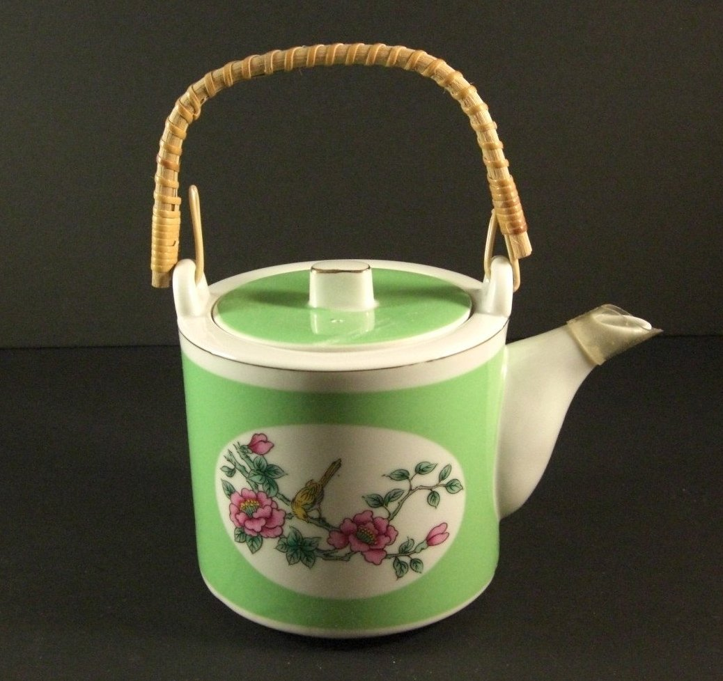 Shafford Porcelain Covered Teapot / Butterflies Birds Botanicals Wrapped Bambo