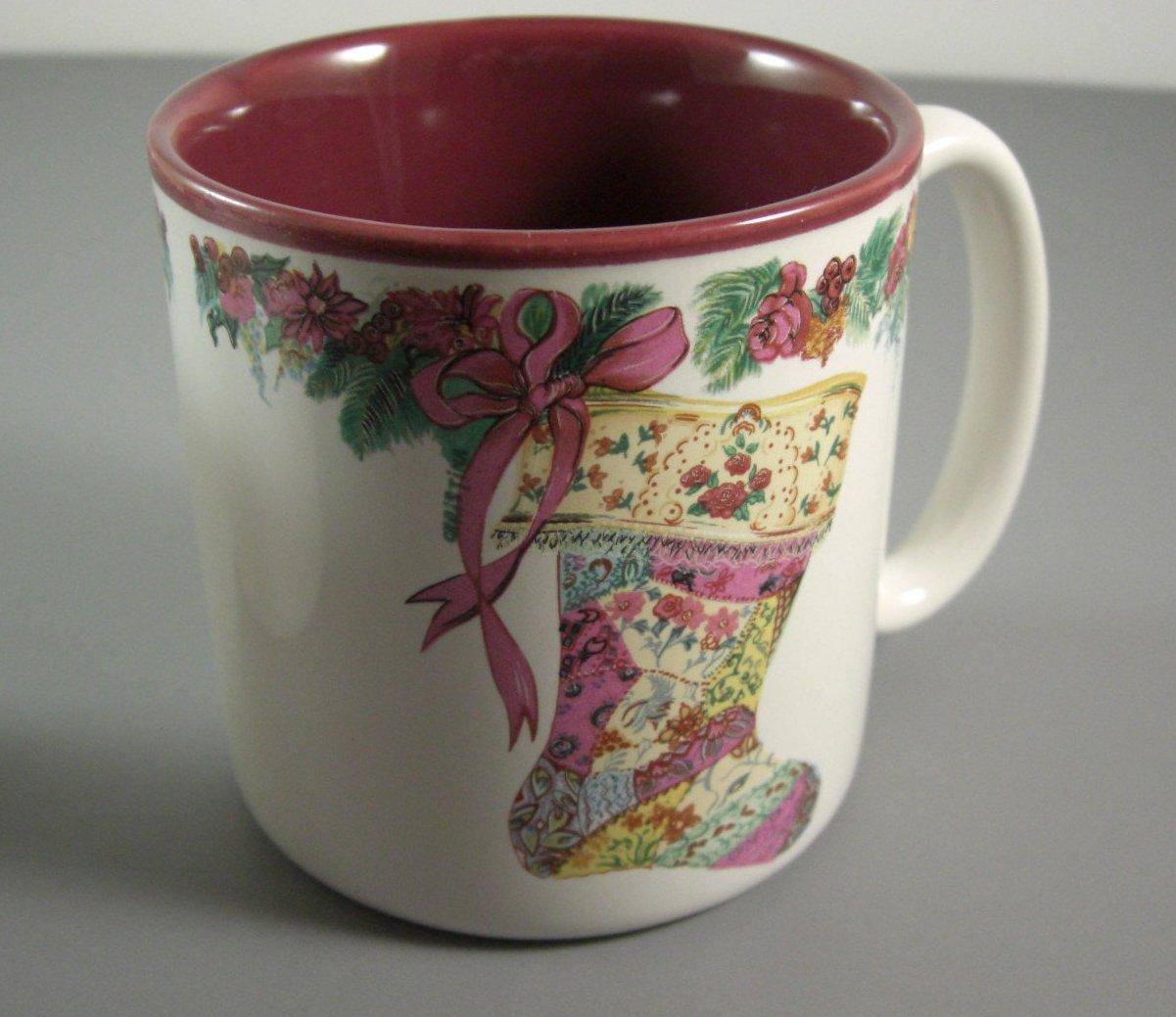2 Potpourri Press Christmas Stocking Mugs // 1987 Coffee Cups