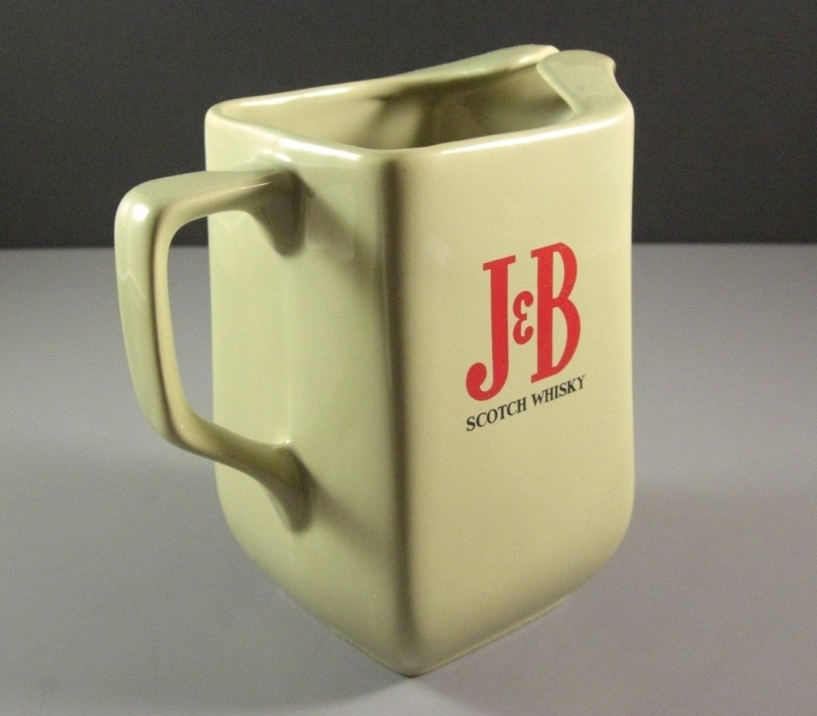 J B Scotch Whiskey Porcelain Ceramic Pitcher Vintage Wade England