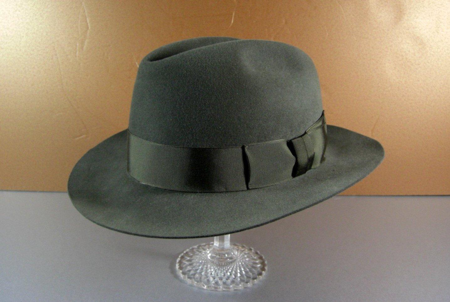 Vintage Texas Hatters Felt Fedora Hat Handmade Gray 7x Beaver