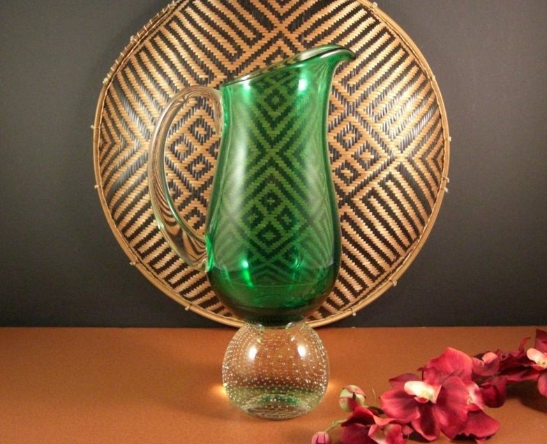 Erickson Controlled Bubble Paper Weight Base Glass Pitcher / Freehand / MidCentu