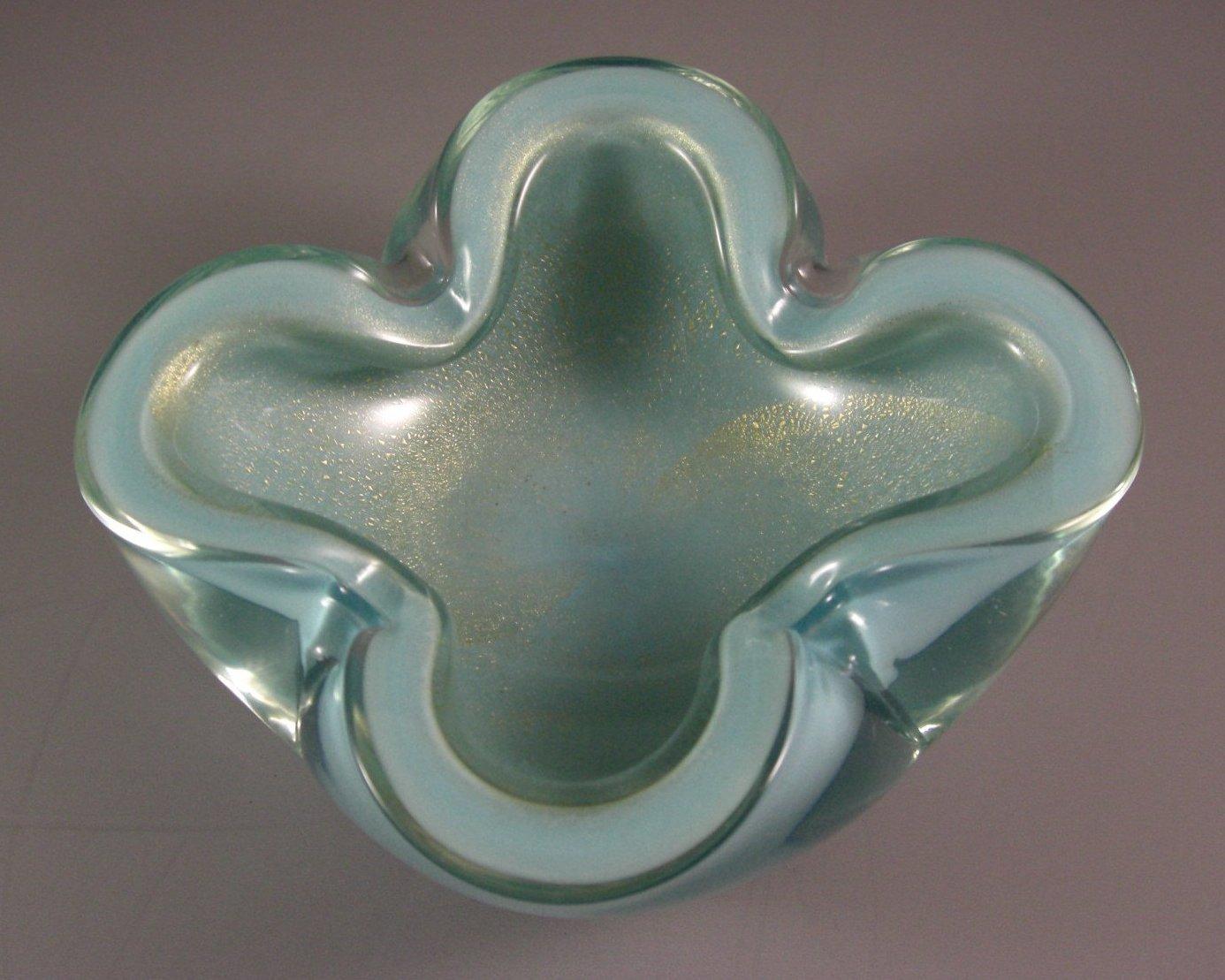 Mid-Century Murano Italian Cased Art Glass Bowl Ashtray // Swirled Gold Dust Ave