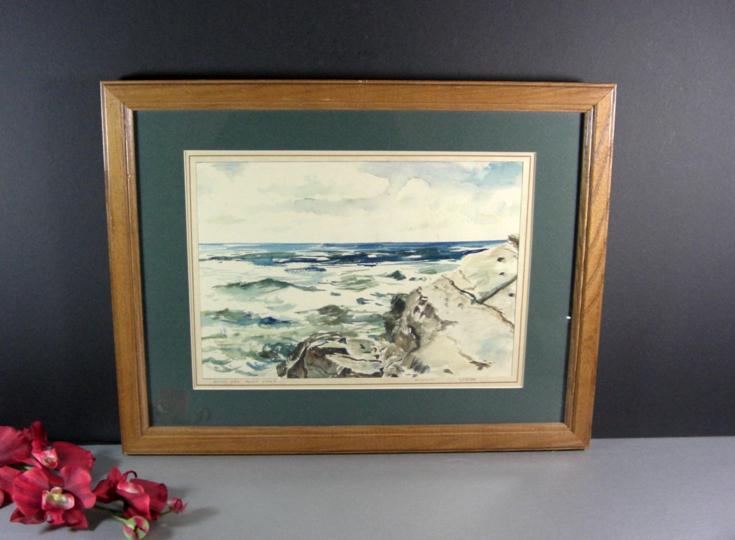 Water Color Painting by Texas Artist Henry Houpy / Signed Dated 1945 Framed unde