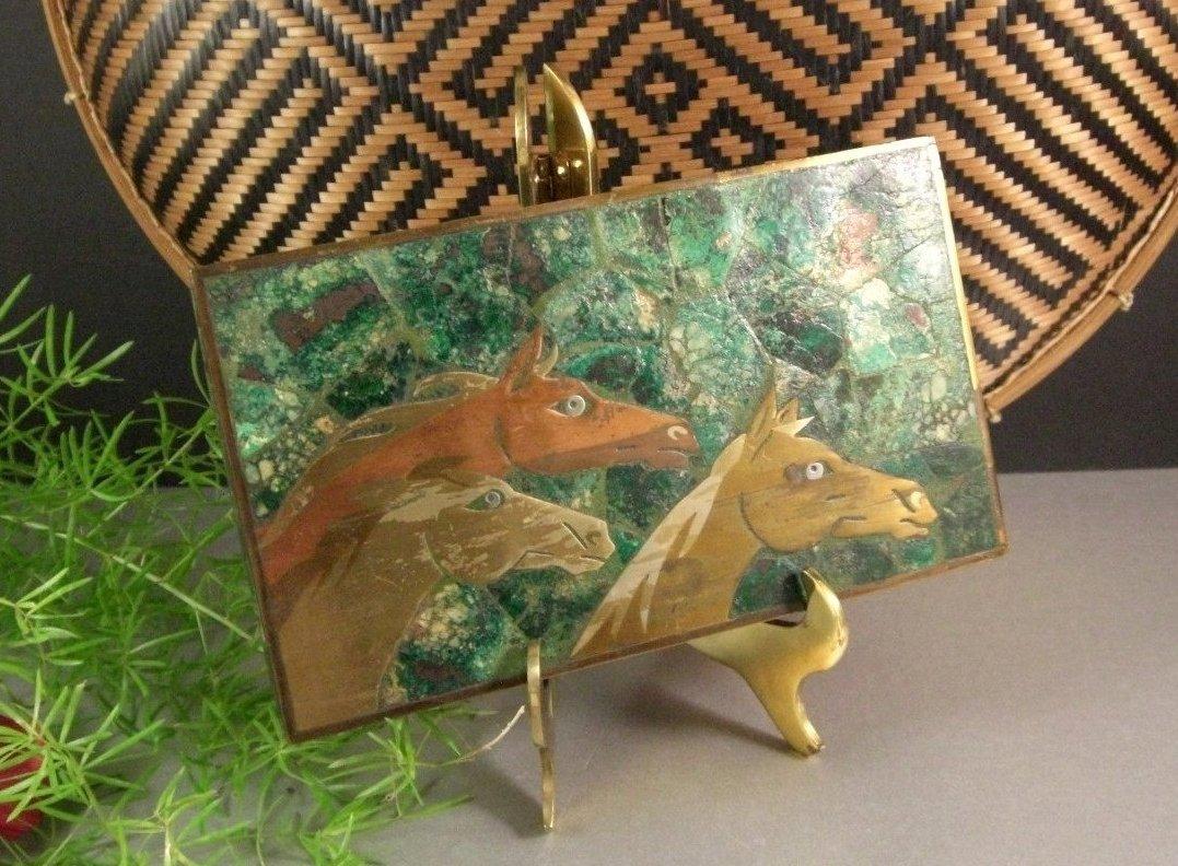 Azurite Malachite Inlaid Brass Box Mexico 50's Taxco Family Mixed Media Metal