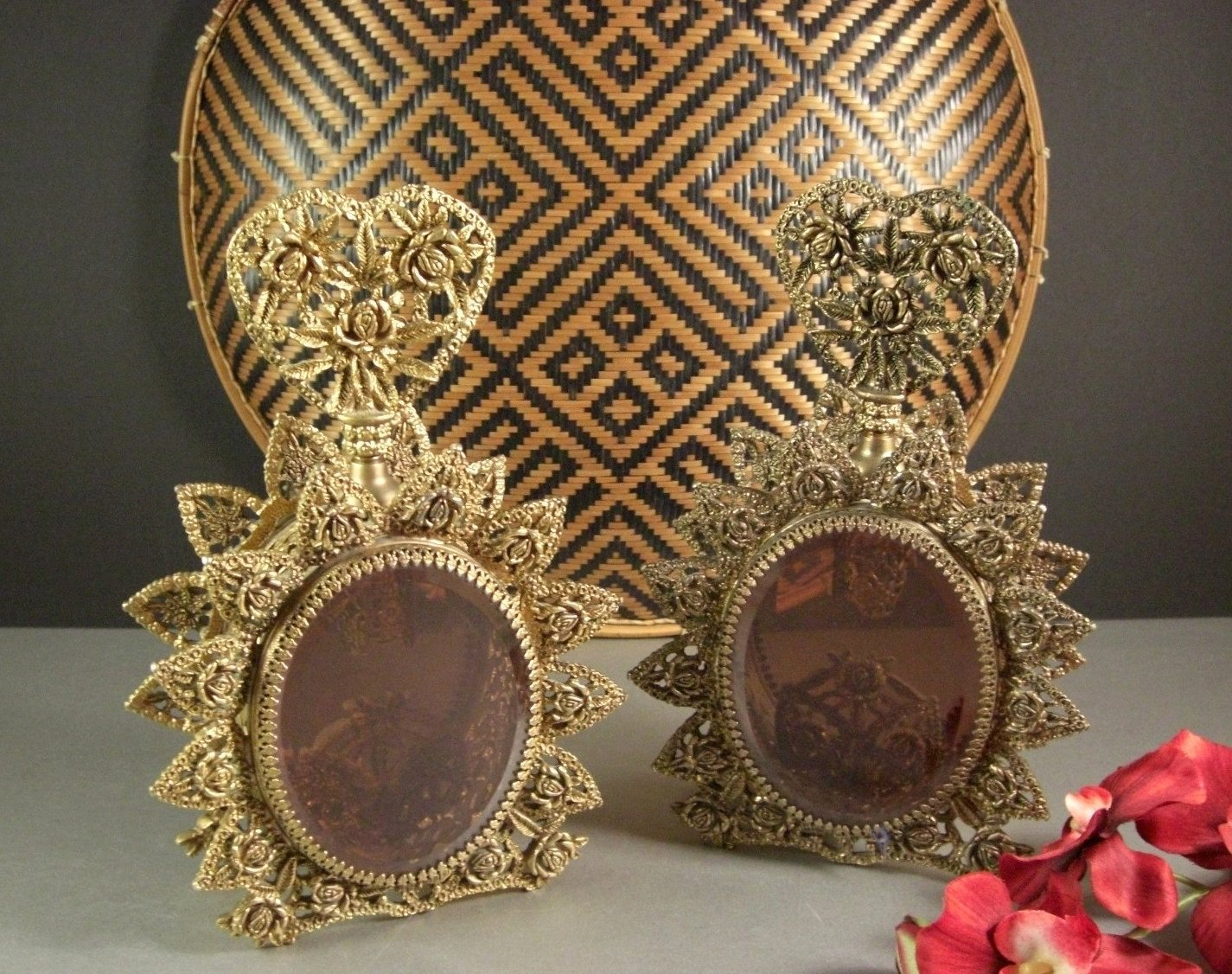Pair Grand Size Ormolu and Amber Beveled Glass Perfume Bottles / Vanity Decanter