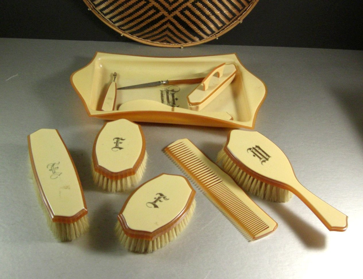Anitque Vintage Gentlemen's Vanity Set / Monogrammed / Ivory Tone