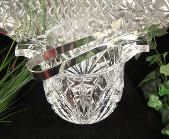 French Crystal Cut Glass Ice Bucket with Silverplated Tongs / Hollywood Regency