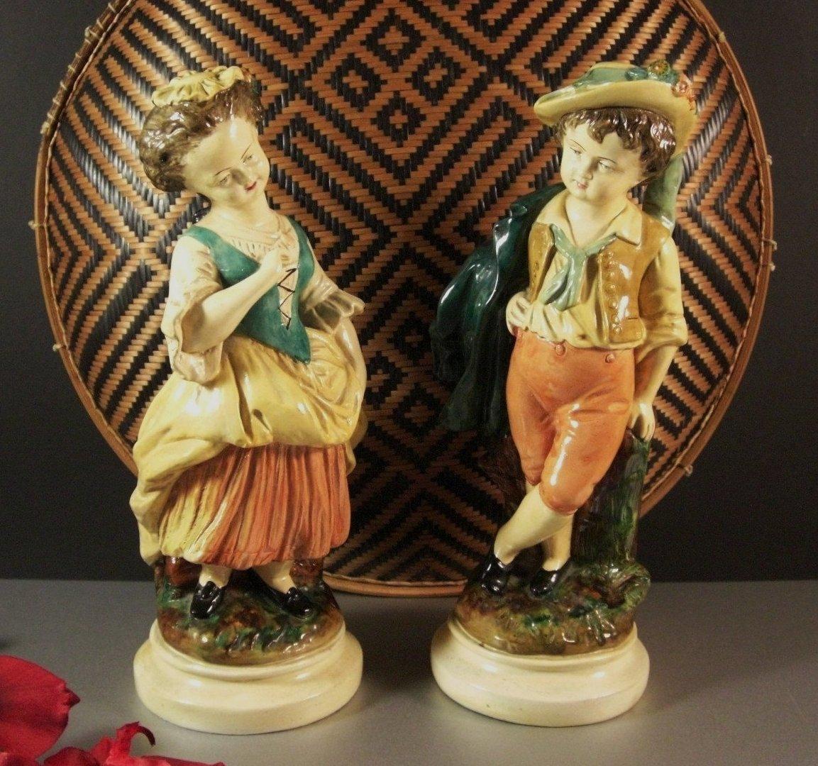 Borghese Chalkware Boy and Girl Figurine Statues / Mantel Decor