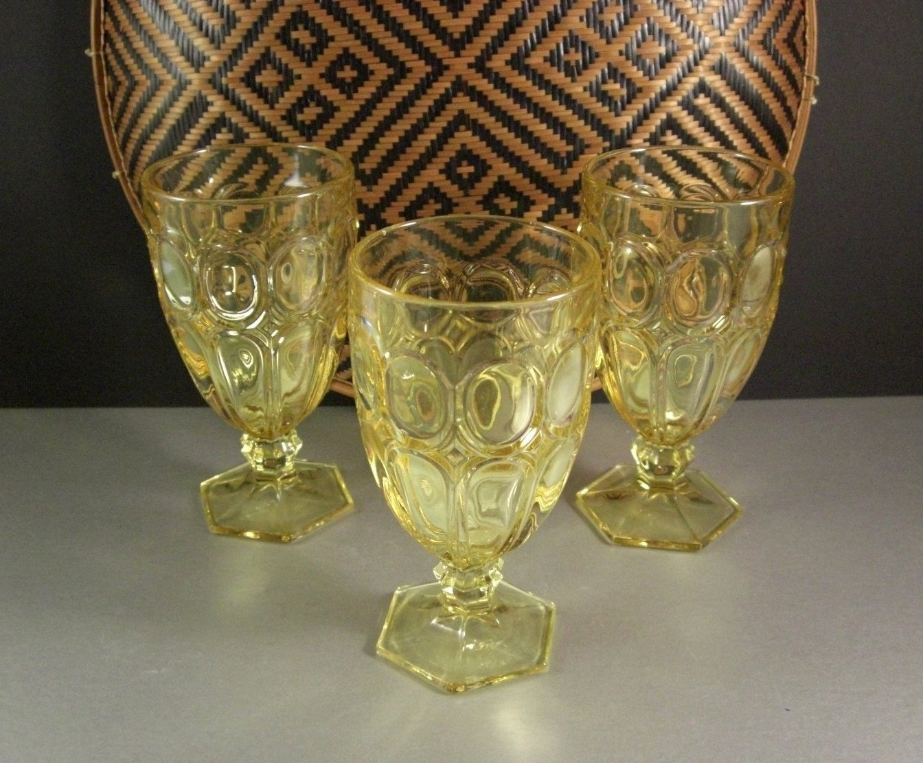 3 Vintage Fostoria Moonstone Yellow Iced Tea Glasses Goblets / HTF Color / Set o