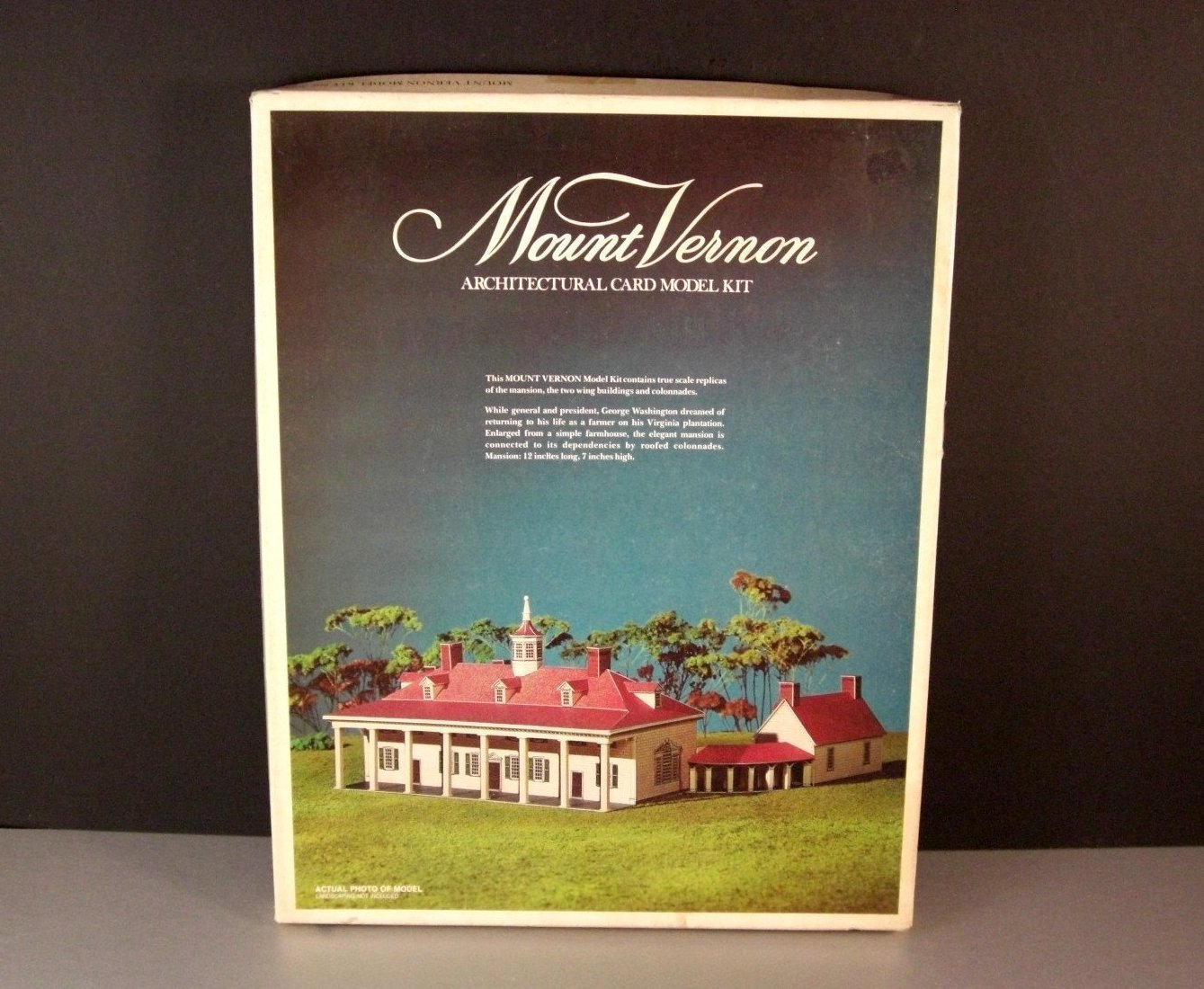 George Washington's Mount Vernon Mansion Paper Model / HO Scale / 1976 Full Colo