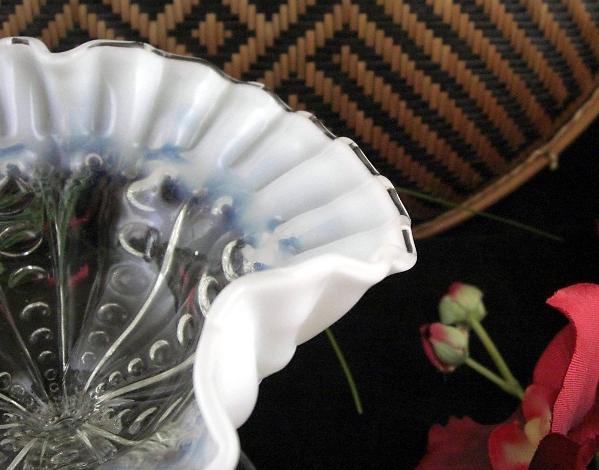 Jefferson Buckeye Silver Crest Opalescent Compote / Crimped Ruffle Edge