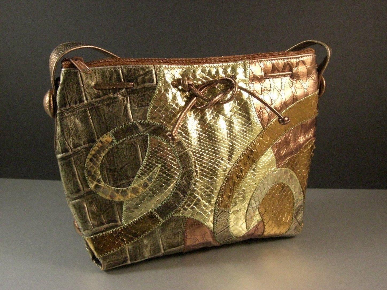 Carlos Falchi Crossbody Faux Croc Snakeskin Embellished Bag / Shoulder Bag