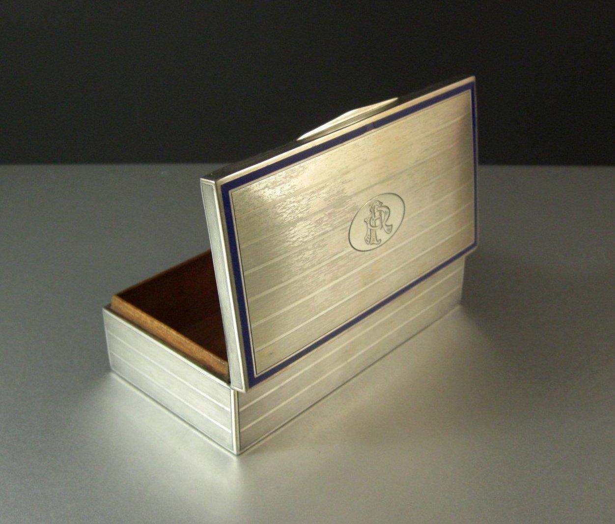 900 Silver Desk Trinket Jewelry Cigarette Box / Art Deco Design / Hallmarked / M