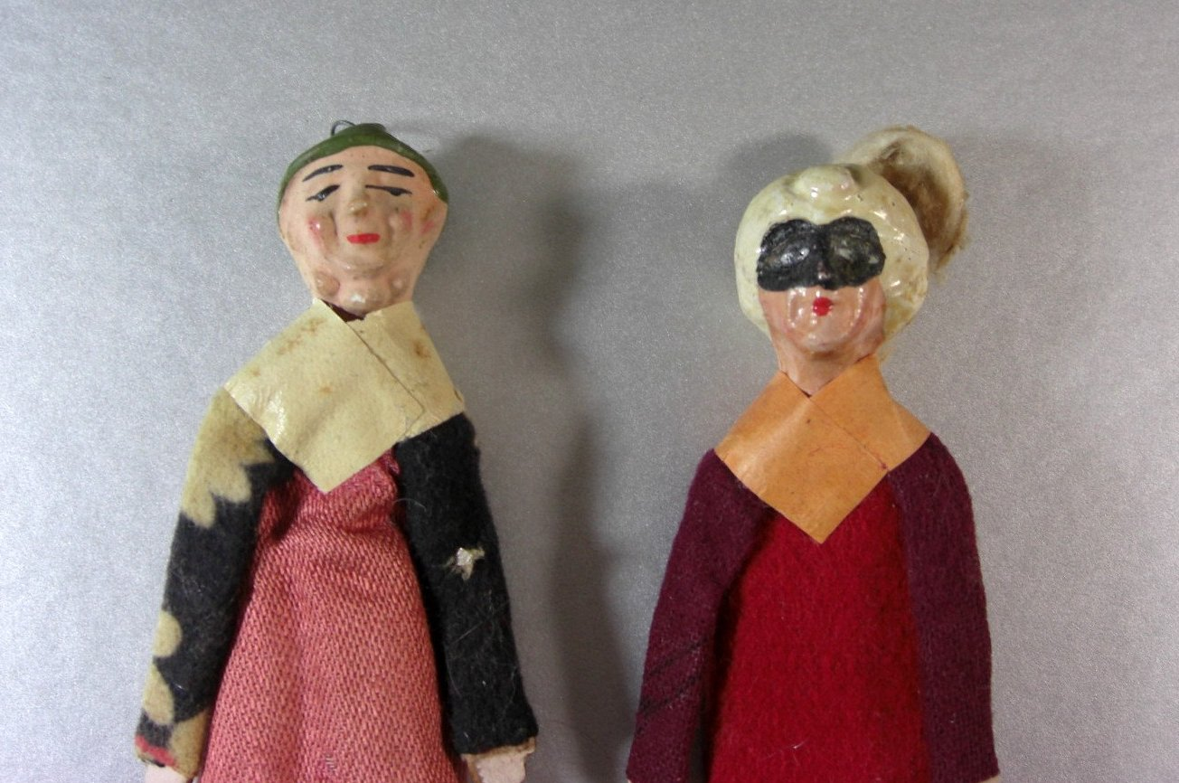 2 Felt ,Cloth, Wood and Mache Folk Art Dolls Ornaments