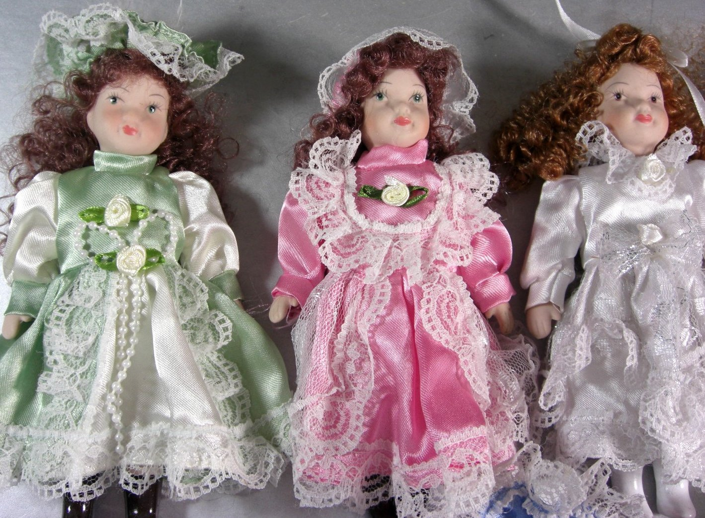 7 Miniature Porcelain Bisque Doll Lot / 7 Inches Tall / Lot