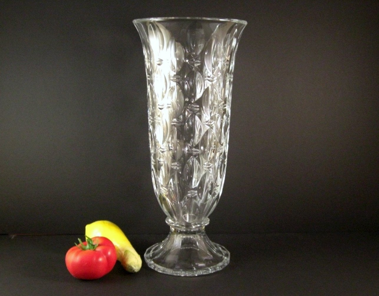 Czech Cut Crystal Wedding Anniversary Vase /  Signed Shannon / Enormous at 17 in