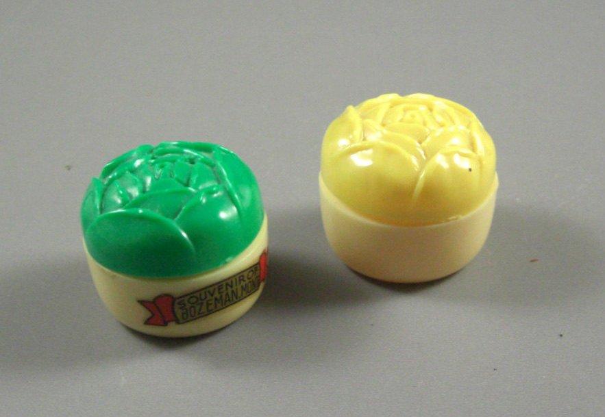 Early Celluloid Plastic ROSE Souvenir Salt & Pepper Shaker // Bozeman Mont. // 5