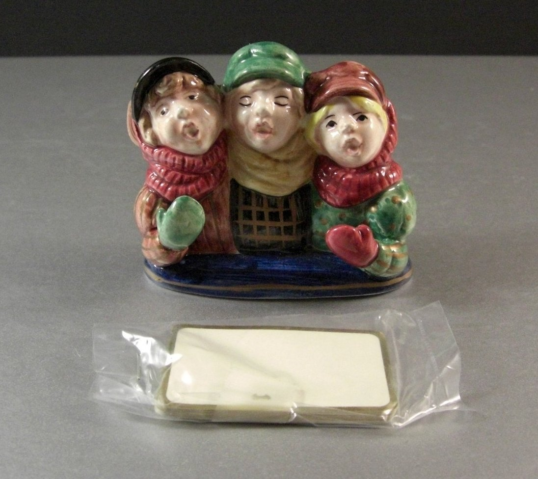 Fitz and Floyd A Christmas Carol Place Card Holder with Cards 1993