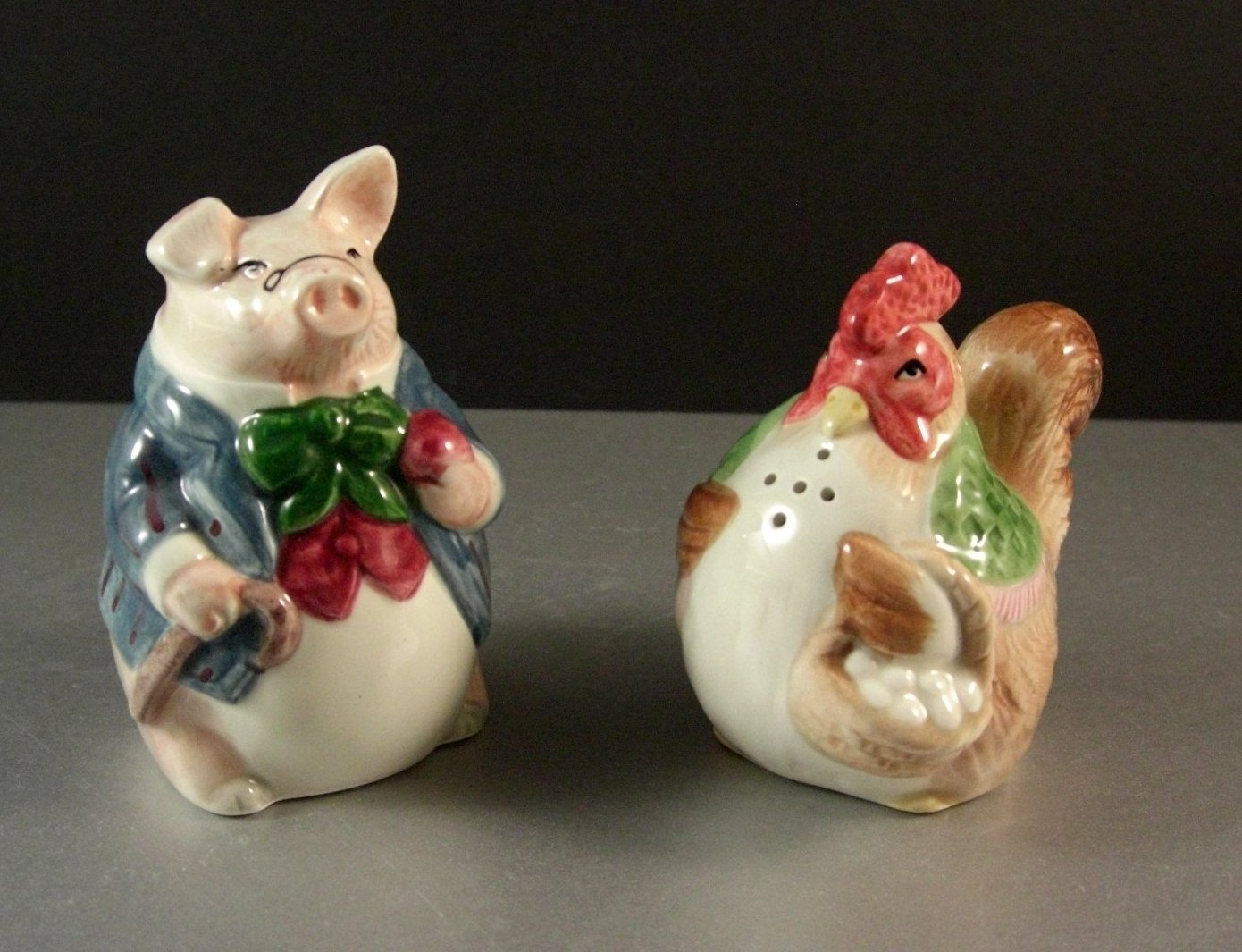 Fitz and Floyd Bacon and Eggs Salt and Pepper Shaker Set 1987