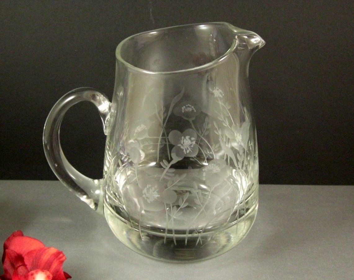 Cut Etched Crystal Glass Pitcher