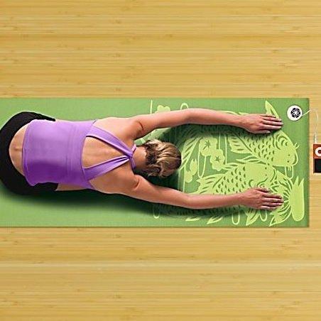 Image 0 of Audio Yoga Mat Green Koi Fish by Gaiam